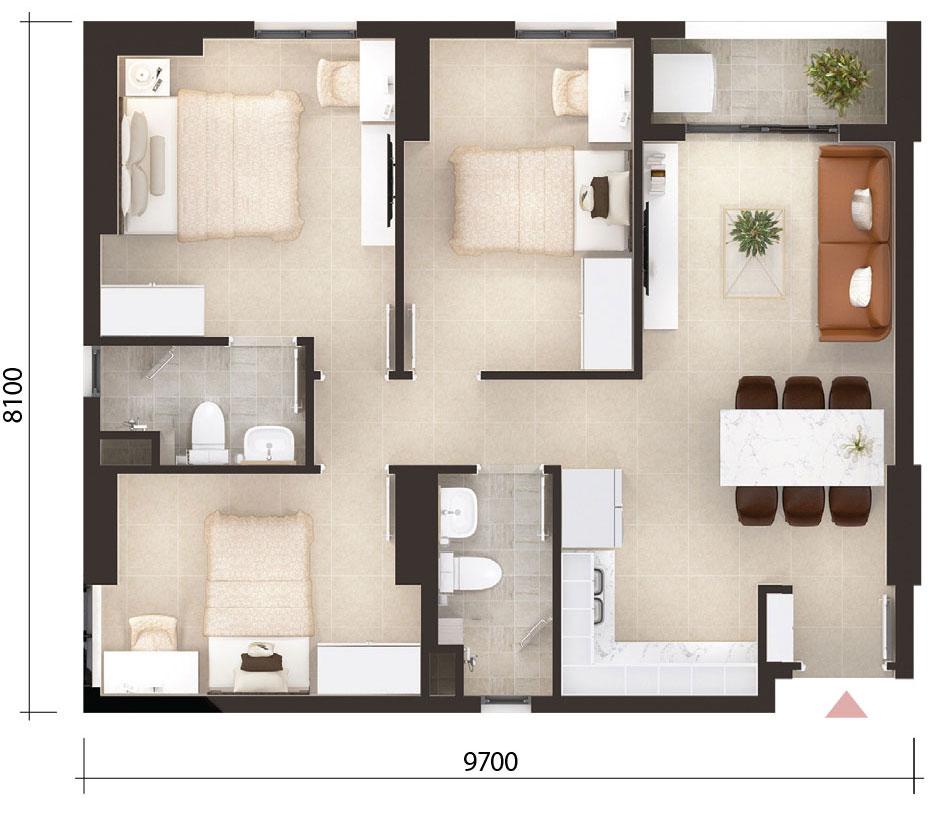 thiết kế căn hộ mẫu